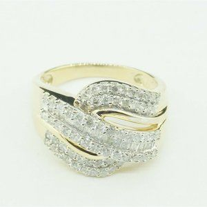 Estate 10K Yellow Gold and Diamond Cocktail Ring